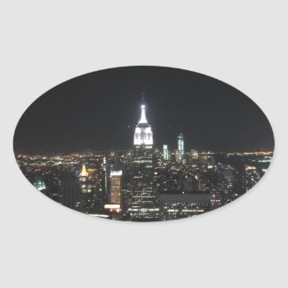 New York The Big Apple Manhattan at Night Gift Oval Sticker