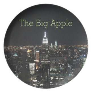 New York The Big Apple Manhattan at Night Gift Party Plate
