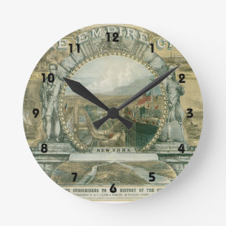 New York The Empire City Round Clock