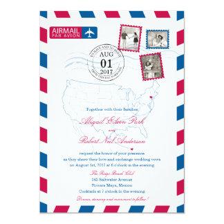 New York to Mexico Airmail | WEDDING 13 Cm X 18 Cm Invitation Card