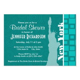 New York; Turquoise Squares; Retro 13 Cm X 18 Cm Invitation Card
