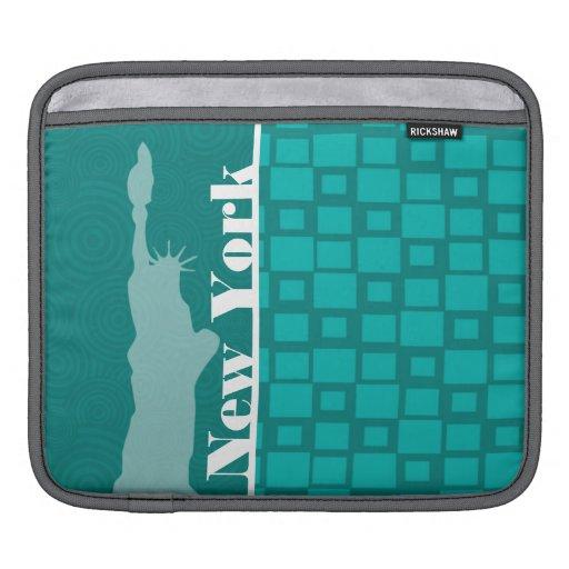 New York; Turquoise Squares; Retro iPad Sleeves