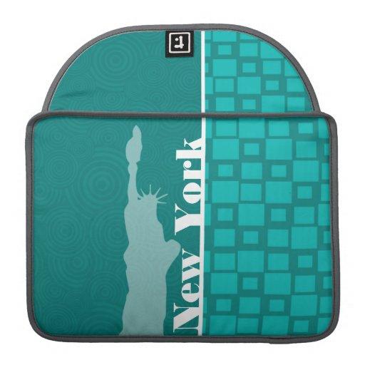 New York; Turquoise Squares; Retro MacBook Pro Sleeves