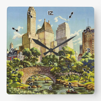 New York United Air Lines Vintage Poster Halftone Square Wall Clock