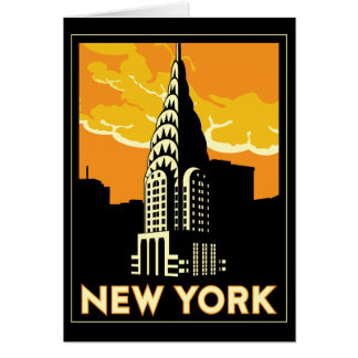 new york united states usa vintage retro travel card