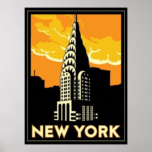 new york united states usa vintage retro travel print