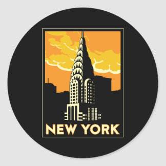 new york united states usa vintage retro travel round sticker