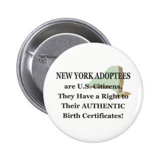 New York: US Citizen 6 Cm Round Badge