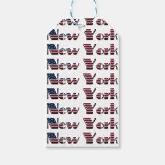 New York USA American Flag Colors Typography Gift Tags