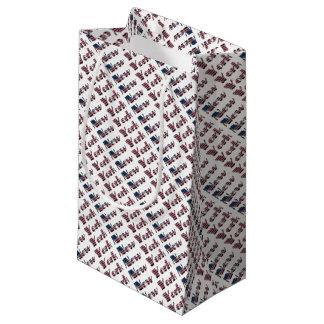 New York USA American Flag Colors Typography Small Gift Bag