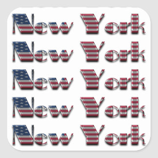 New York USA American Flag Colors Typography Square Sticker