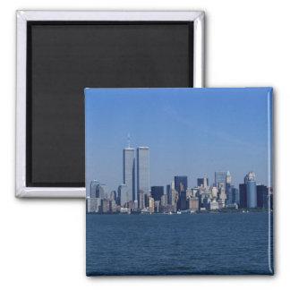 New York, USA. Skyline of downtown Manhattan Square Magnet