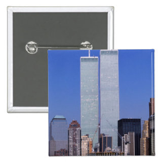 New York, USA. Twin towers of the famous World 15 Cm Square Badge