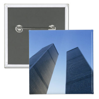 New York, USA. View up at twin towers of the 15 Cm Square Badge