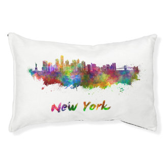 New York V2 skyline in watercolor Pet Bed