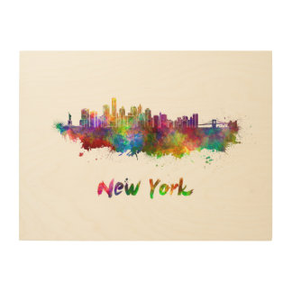 New York V2 skyline in watercolor Wood Wall Art