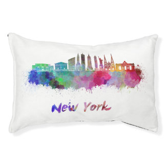 New York V3 skyline in watercolor Pet Bed