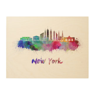 New York V3 skyline in watercolor Wood Wall Decor