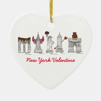 New York Valentine Heart-Shaped Ornament