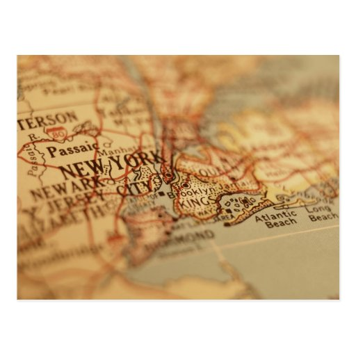 NEW YORK Vintage Map Post Card