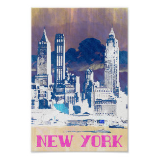 New York - Vintage style travel 80's poster