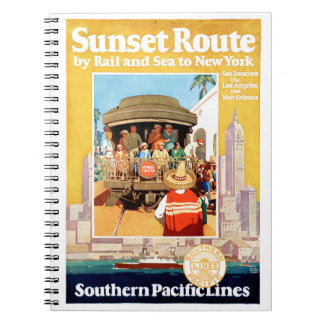 New York Vintage Travel Poster Restored Spiral Notebook