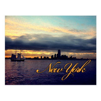 New York Waterfront Sunset Postcard