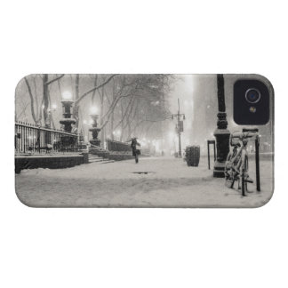 New York Winter - Snowy Night - Bryant Park iPhone 4 Covers