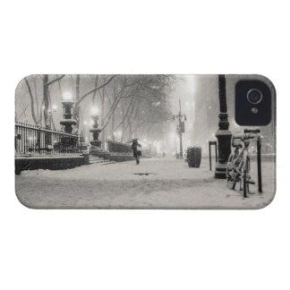New York Winter - Snowy Night - Bryant Park iPhone 4 Covers