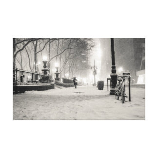 New York Winter - Snowy Night - Bryant Park Stretched Canvas Prints