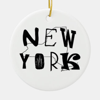 New York with NY State Outline Ceramic Ornament