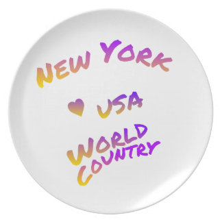 New York world city, colorful text art Plate