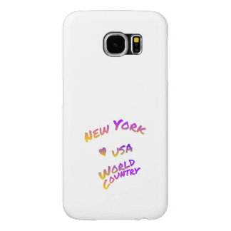New York world city, colorful text art Samsung Galaxy S6 Cases