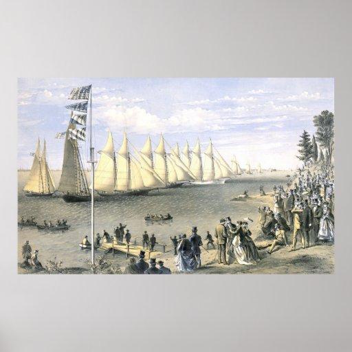 New York Yacht Club Regatta 1869 Print
