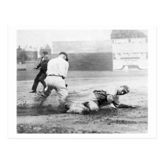 New York Yankee player slides into Base Postcard