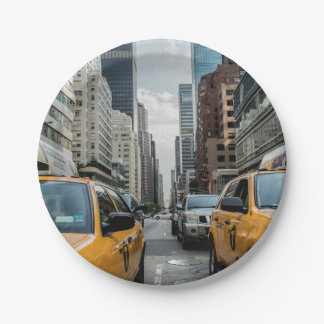 New York Yellow Taxi Cabs 7 Inch Paper Plate