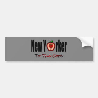 New Yorker To The Core With Sliced Big Apple Bumper Sticker
