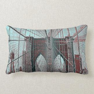New York's Brooklyn Bridge and Freedom Tower Lumbar Cushion