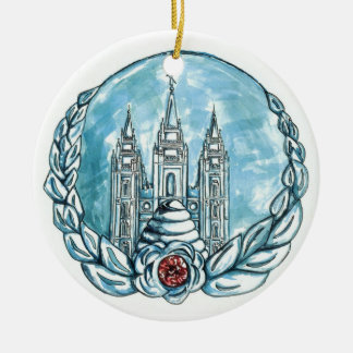 new young womens medallion ceramic ornament