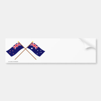 New Zealand and Australia Crossed Flags Bumper Sticker