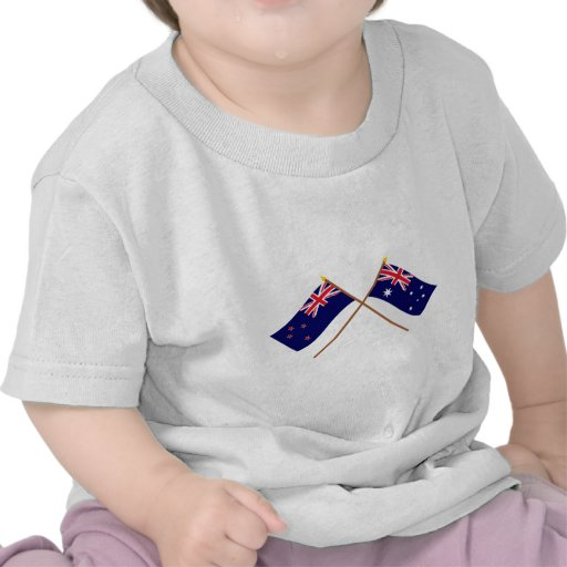 New Zealand and Australia Crossed Flags Tshirts