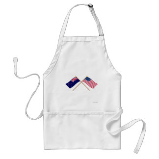 New Zealand and United States Crossed Flags Aprons