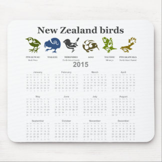 New Zealand birds calendar 2015 Mouse Pad