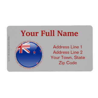 New Zealand Bubble Flag Shipping Label