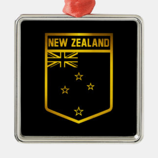 New Zealand Emblem Silver-Colored Square Decoration
