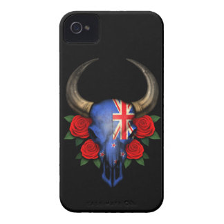 New Zealand Flag Bull Skull with Red Roses iPhone 4 Case-Mate Cases