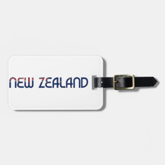 New Zealand Flag Colors Typography Luggage Tag