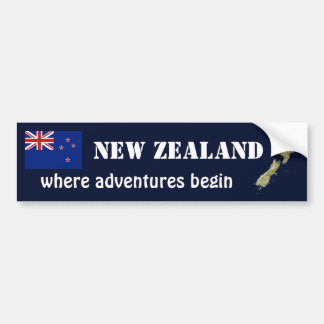 New Zealand Flag + Map Bumper Sticker