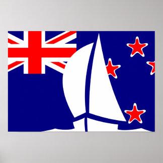 New Zealand Flag Sailing Yacht Nautical Poster