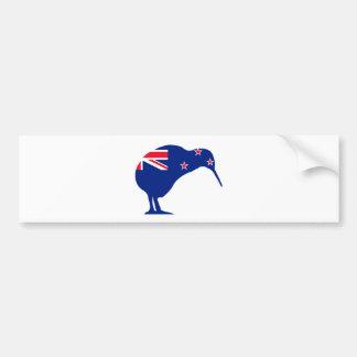 New Zealand Flag With Kiwi SIlhouette Bumper Sticker